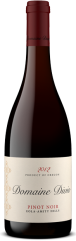 A bottle shot of the 2012 Domaine Divio Eola-Amity Hills Pinot Noir.