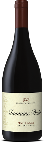 A bottle shot of the 102 Domaine Divio Eola-Amity Hills Pinot Noir