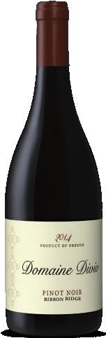 A bottle shot of the 2014 Domaine Divio Ribbon Ridge Pinot Noir
