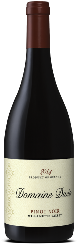 A bottle shot of the 2014 Domaine Divio Willamette Valley Pinot Noir
