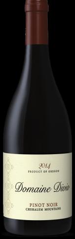 A bottle shot of the 2014 Domaine Divio Chehalem Mountains Pinot Noir