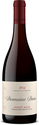 A bottle shot of the 2014 Domaine Divio Chehalem Mountains Pinot Noir.