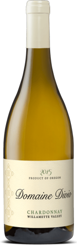 A bottle shot of the 2015 Domaine Divio Willamette Valley Chardonnay