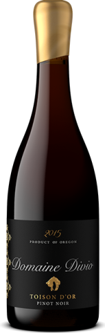 A bottle shot of the 2015 Domaine Divio Toison d'Or Pinot Noir