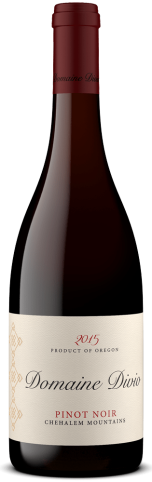A bottle shot of the 2015 Domaine Divio Chehalem Mountains Pinot Noir