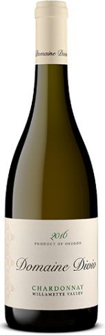 A bottle shot of the 2016 Domaine Divio Willamette Valley Chardonnay.