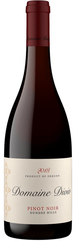 A bottle shot of the 2018 Domaine Divio Dundee Hills Pinot Noir