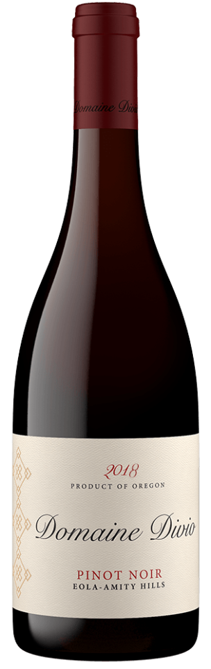 A bottle shot of the 2018 Domaine Divio Eola-Amity Hills Pinot Noir