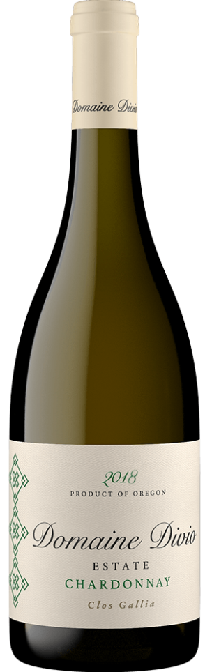 A bottle shot of the 2018 Domaine Divio Estate Clos Gallia Chardonnay