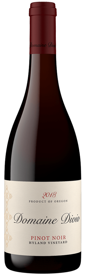 Bottle shot of the 2018 Domaine Divio Hyland Vineyard Pinot Noir