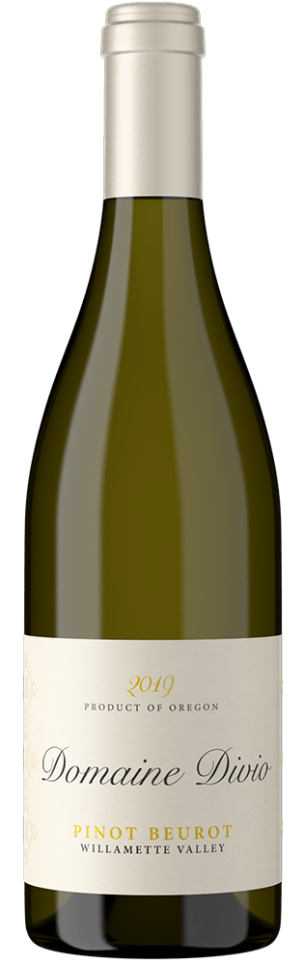 A bottle shot of the 2019 Domaine Divio Willamette Valley Pinot Beurot.